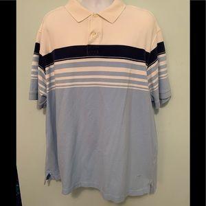 Men's 3X Big Daniel Cremieux cream/blue polo used